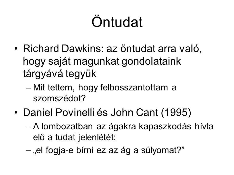 Öntudat Richard Dawkins: az öntudat arra való, hogy saját magunkat gondolataink tárgyává tegyük –Mit tettem, hogy felbosszantottam a szomszédot.