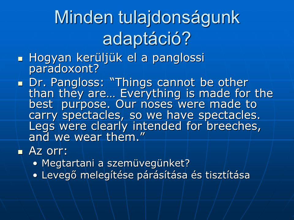 Minden tulajdonságunk adaptáció.Hogyan kerüljük el a panglossi paradoxont.