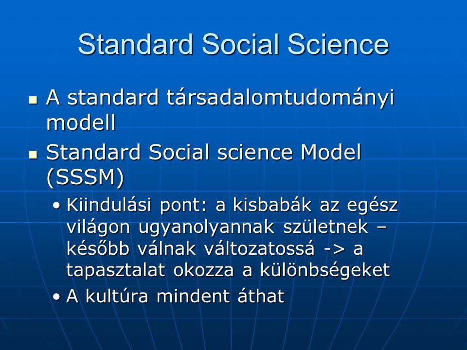 Standard Social Science A standard társadalomtudományi modell A standard társadalomtudományi modell Standard Social science Model (SSSM) Standard Social science Model (SSSM) Kiindulási pont: a kisbabák az egész világon ugyanolyannak születnek – később válnak változatossá -> a tapasztalat okozza a különbségeketKiindulási pont: a kisbabák az egész világon ugyanolyannak születnek – később válnak változatossá -> a tapasztalat okozza a különbségeket A kultúra mindent áthatA kultúra mindent áthat