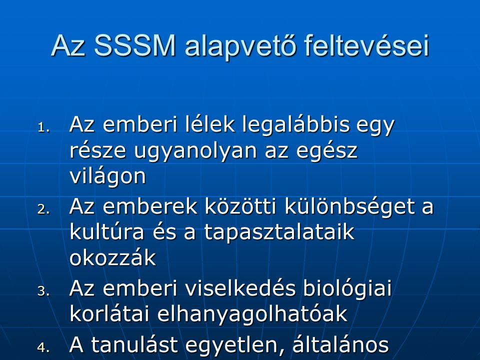 Az SSSM alapvető feltevései 1.Az emberi lélek legalábbis egy része ugyanolyan az egész világon 2.