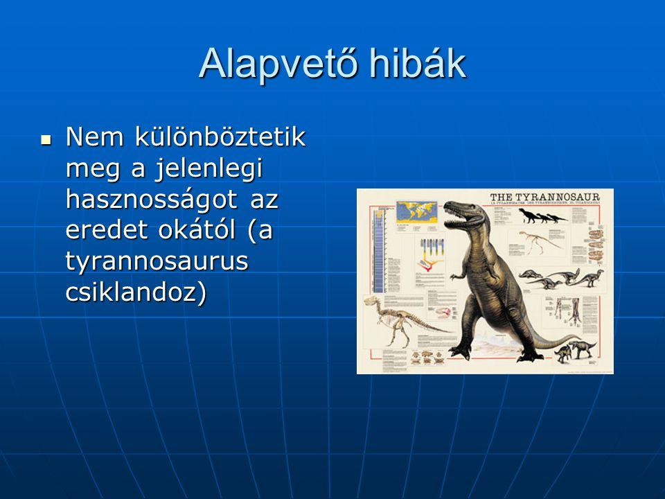 Alapvető hibák Nem különböztetik meg a jelenlegi hasznosságot az eredet okától (a tyrannosaurus csiklandoz) Nem különböztetik meg a jelenlegi hasznosságot az eredet okától (a tyrannosaurus csiklandoz)
