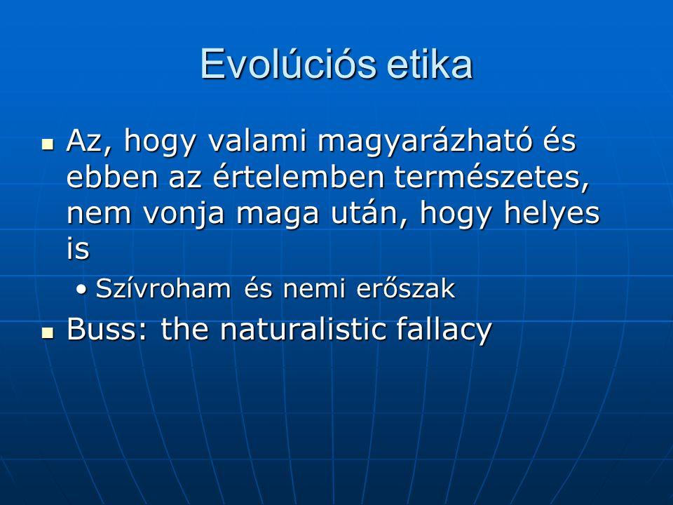 Evolúciós etika Az, hogy valami magyarázható és ebben az értelemben természetes, nem vonja maga után, hogy helyes is Az, hogy valami magyarázható és ebben az értelemben természetes, nem vonja maga után, hogy helyes is Szívroham és nemi erőszakSzívroham és nemi erőszak Buss: the naturalistic fallacy Buss: the naturalistic fallacy