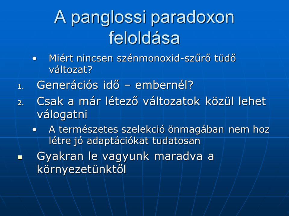 A panglossi paradoxon feloldása Miért nincsen szénmonoxid-szűrő tüdő változat?Miért nincsen szénmonoxid-szűrő tüdő változat.