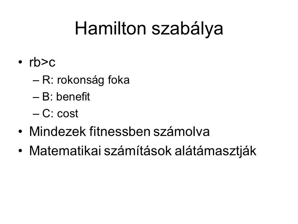 Hamilton szabálya rb>c –R: rokonság foka –B: benefit –C: cost Mindezek fitnessben számolva Matematikai számítások alátámasztják