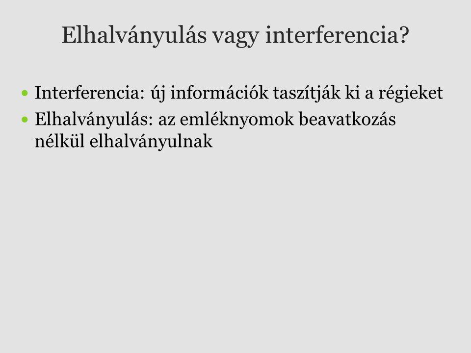 Elhalványulás vagy interferencia? Interferencia: új információk taszítják ki a régieket Elhalványulás: az emléknyomok beavatkozás nélkül elhalványulna