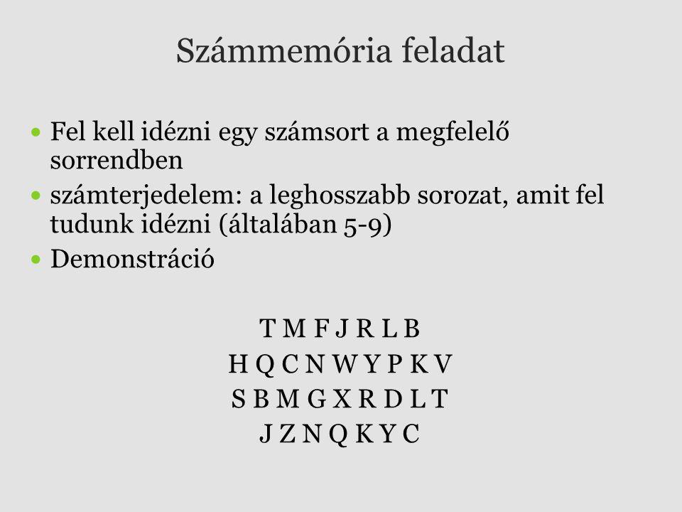 Számmemória feladat Fel kell idézni egy számsort a megfelelő sorrendben számterjedelem: a leghosszabb sorozat, amit fel tudunk idézni (általában 5-9)