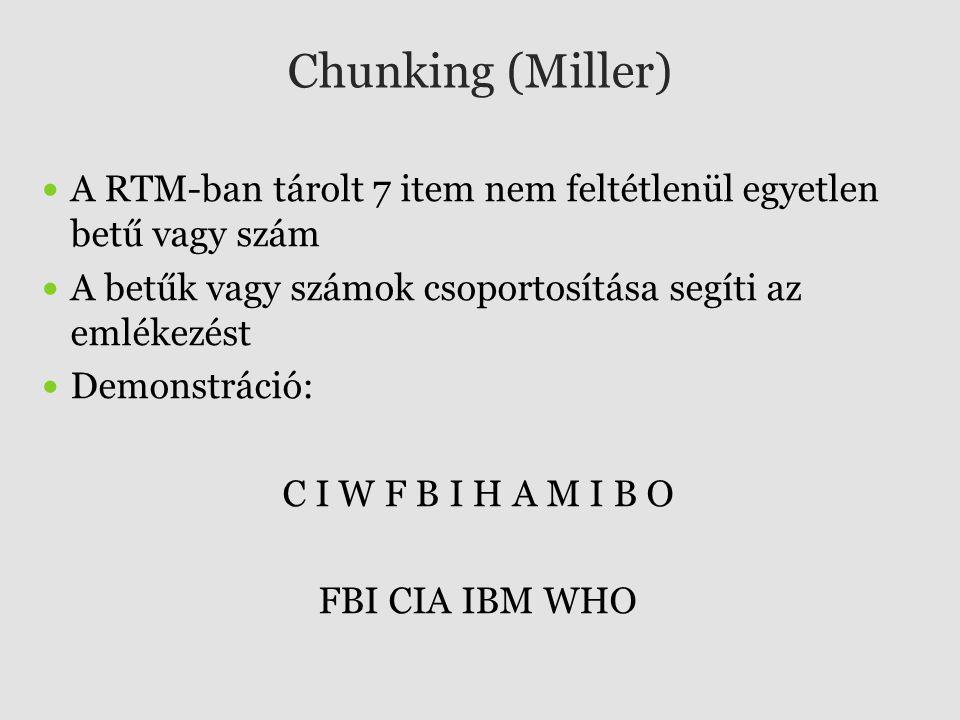 Chunking (Miller) A RTM-ban tárolt 7 item nem feltétlenül egyetlen betű vagy szám A betűk vagy számok csoportosítása segíti az emlékezést Demonstráció