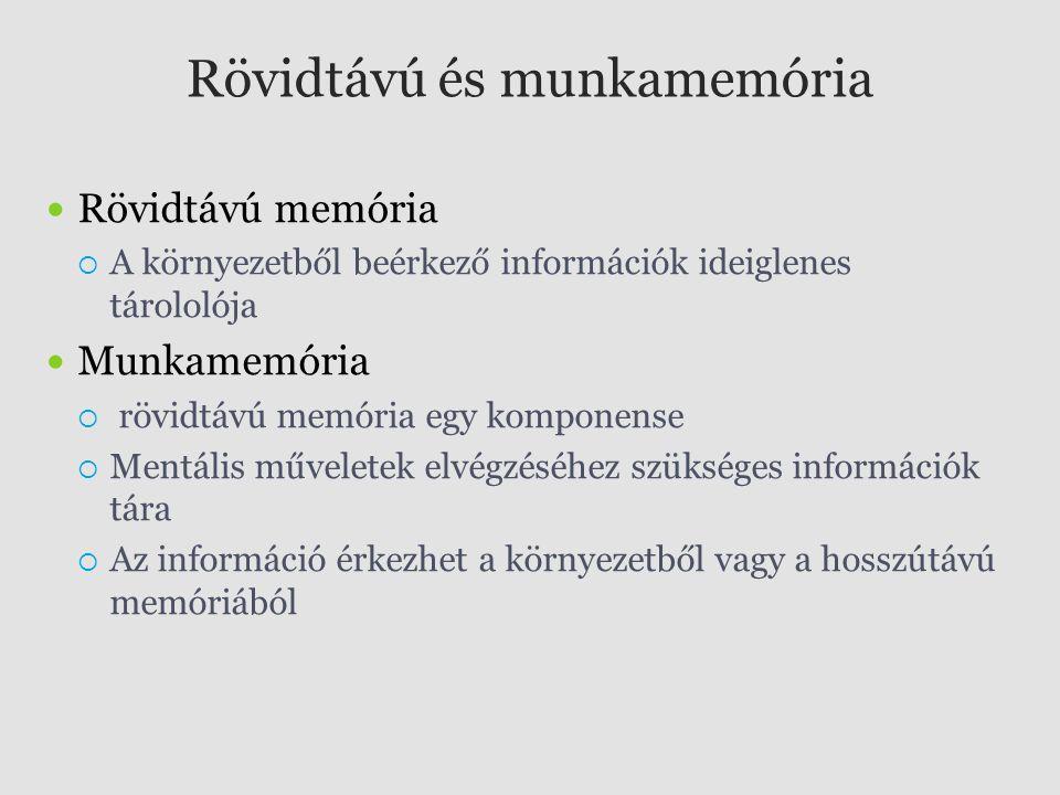 Rövidtávú és munkamemória Rövidtávú memória  A környezetből beérkező információk ideiglenes tárololója Munkamemória  rövidtávú memória egy komponens