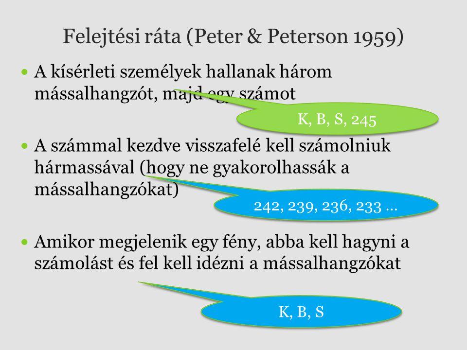 Felejtési ráta (Peter & Peterson 1959) A kísérleti személyek hallanak három mássalhangzót, majd egy számot A számmal kezdve visszafelé kell számolniuk