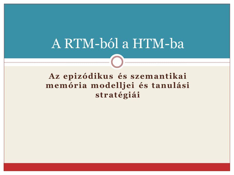 Az epizódikus és szemantikai memória modelljei és tanulási stratégiái A RTM-ból a HTM-ba