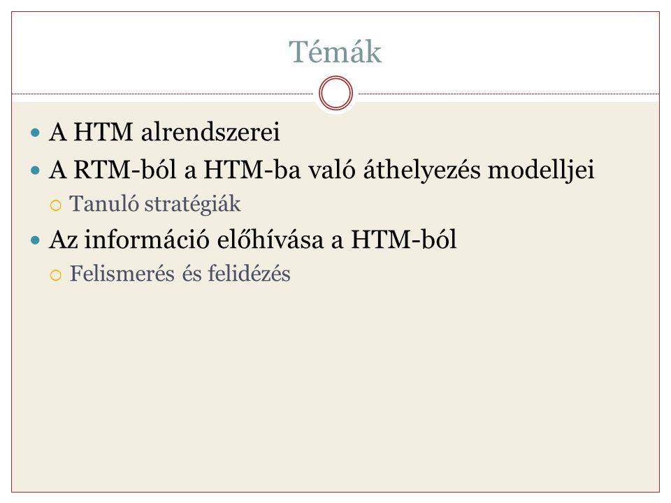 Témák A HTM alrendszerei A RTM-ból a HTM-ba való áthelyezés modelljei  Tanuló stratégiák Az információ előhívása a HTM-ból  Felismerés és felidézés