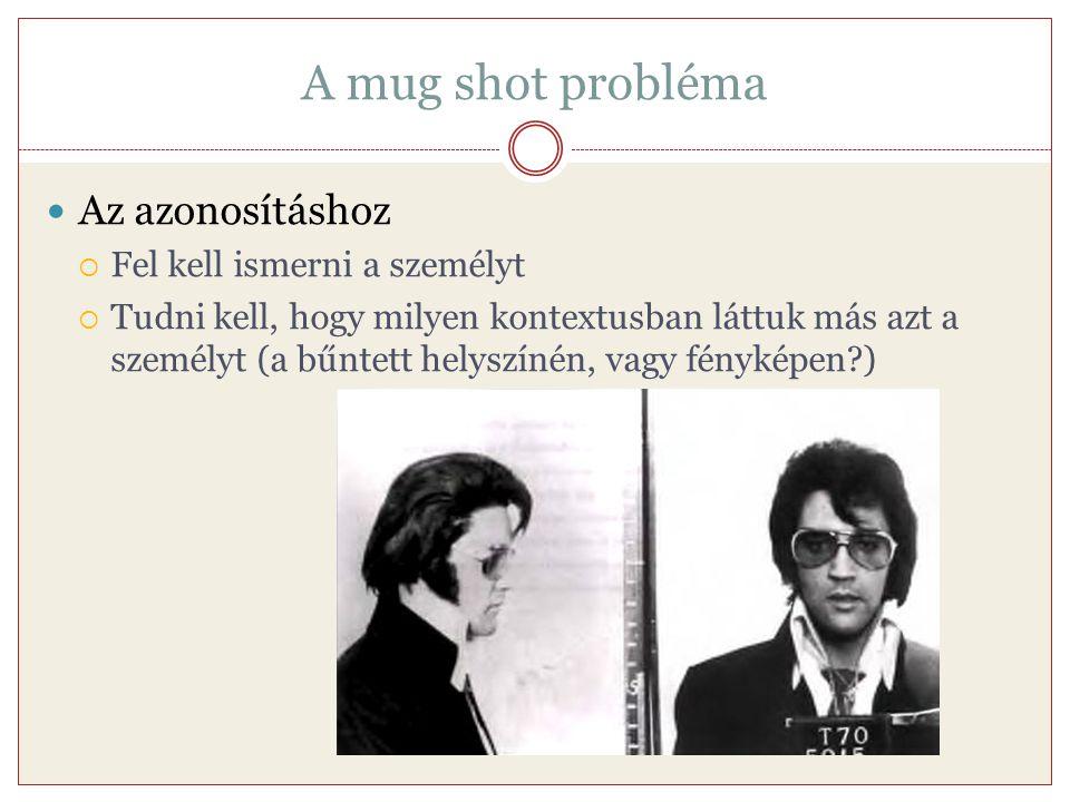 A mug shot probléma Az azonosításhoz  Fel kell ismerni a személyt  Tudni kell, hogy milyen kontextusban láttuk más azt a személyt (a bűntett helyszí