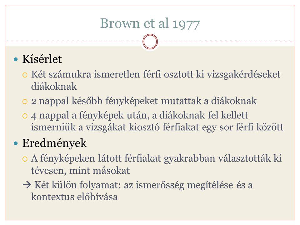 Brown et al 1977 Kísérlet  Két számukra ismeretlen férfi osztott ki vizsgakérdéseket diákoknak  2 nappal később fényképeket mutattak a diákoknak  4
