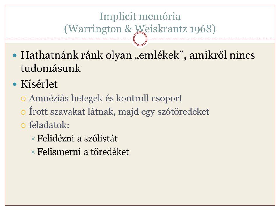 """Implicit memória (Warrington & Weiskrantz 1968) Hathatnánk ránk olyan """"emlékek"""", amikről nincs tudomásunk Kísérlet  Amnéziás betegek és kontroll csop"""
