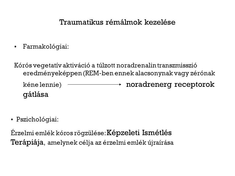 Traumatikus rémálmok kezelése Farmakológiai: Kórós vegetatív aktiváció a túlzott noradrenalin transzmisszió eredményeképpen (REM-ben ennek alacsonynak