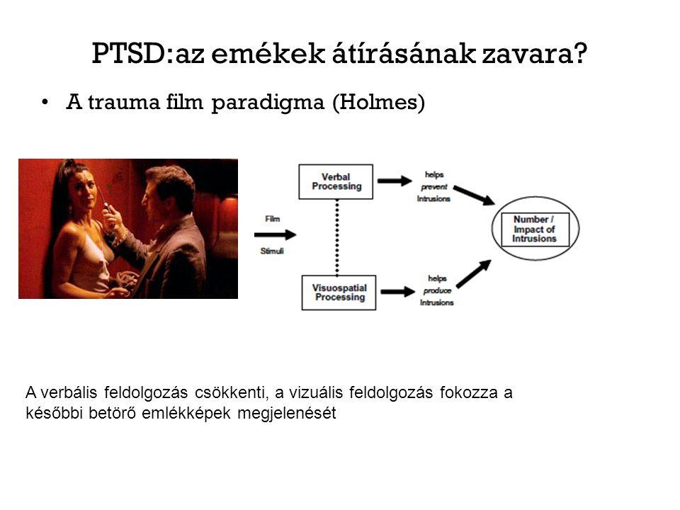 PTSD:az emékek átírásának zavara? A trauma film paradigma (Holmes) A verbális feldolgozás csökkenti, a vizuális feldolgozás fokozza a későbbi betörő e