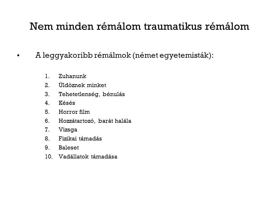 Nem minden rémálom traumatikus rémálom A leggyakoribb rémálmok (német egyetemisták): 1.Zuhanunk 2.Üldöznek minket 3.Tehetetlenség, bénulás 4.Késés 5.H