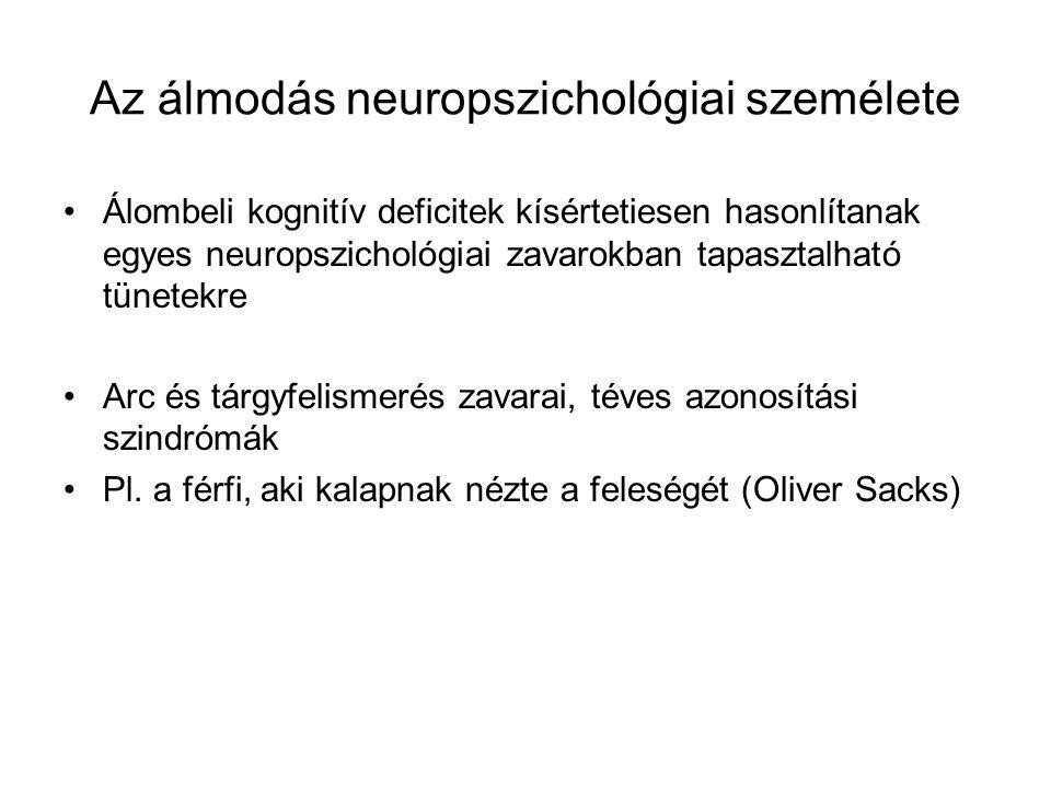 Az álmodás neuropszichológiai személete Álombeli kognitív deficitek kísértetiesen hasonlítanak egyes neuropszichológiai zavarokban tapasztalható tünet