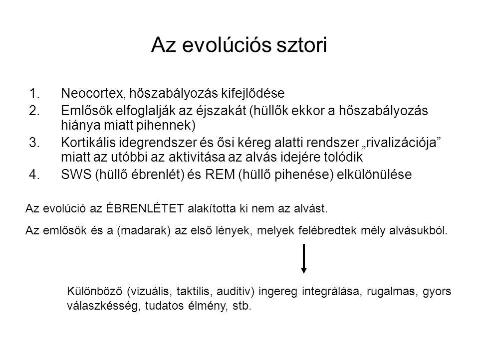 Az evolúciós sztori 1.Neocortex, hőszabályozás kifejlődése 2.Emlősök elfoglalják az éjszakát (hüllők ekkor a hőszabályozás hiánya miatt pihennek) 3.Ko