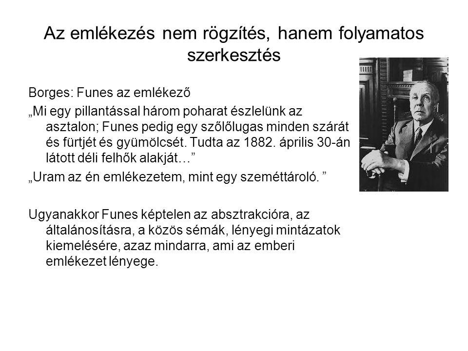"""Az emlékezés nem rögzítés, hanem folyamatos szerkesztés Borges: Funes az emlékező """"Mi egy pillantással három poharat észlelünk az asztalon; Funes pedi"""