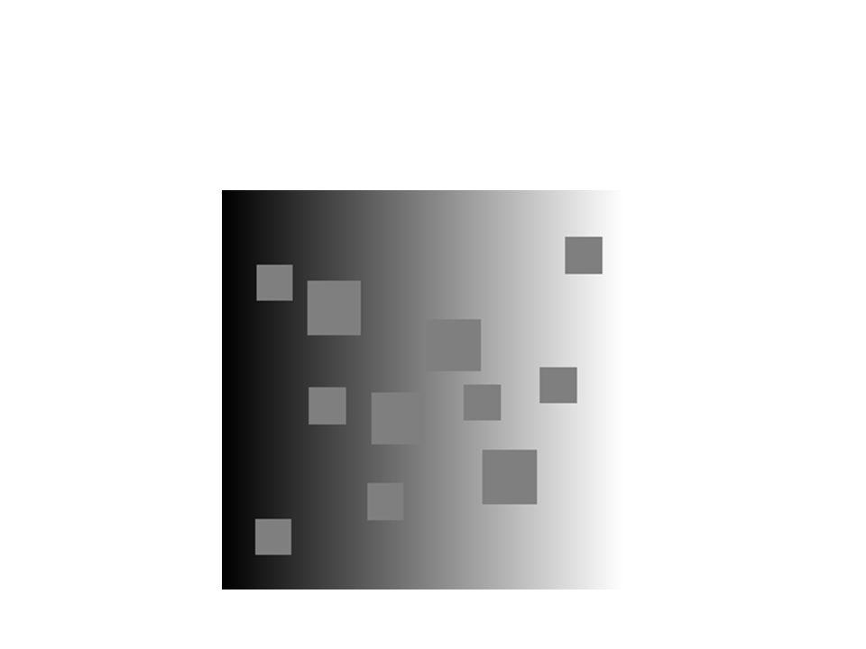 Knill-Kersten hatás Magyarázat alapjai laterális gátlás kontextus (retinán túl) – hengeres test esetén árnyékként értékelődik a luminancia csökkenés Megfigyelések A baloldali négyzet sötétebbnek tűnik b-n.