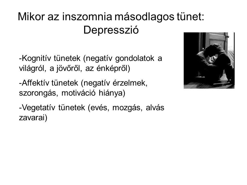 Mikor az inszomnia másodlagos tünet: Depresszió -Kognitív tünetek (negatív gondolatok a világról, a jövőről, az énképről) -Affektív tünetek (negatív érzelmek, szorongás, motiváció hiánya) -Vegetatív tünetek (evés, mozgás, alvás zavarai)