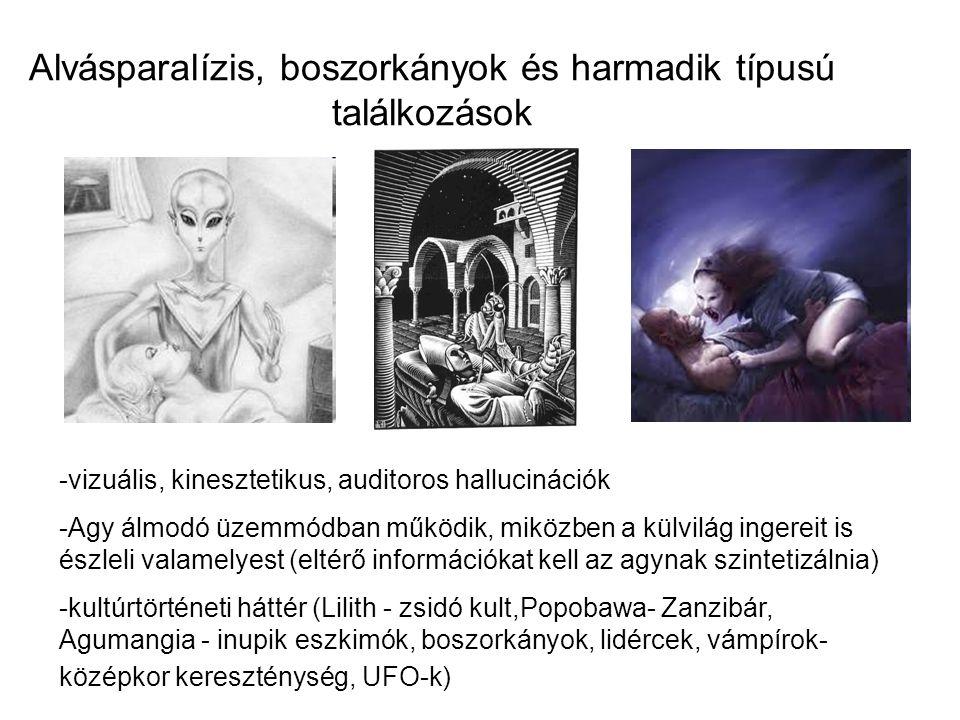 Alvásparalízis, boszorkányok és harmadik típusú találkozások -vizuális, kinesztetikus, auditoros hallucinációk -Agy álmodó üzemmódban működik, miközben a külvilág ingereit is észleli valamelyest (eltérő információkat kell az agynak szintetizálnia) -kultúrtörténeti háttér (Lilith - zsidó kult,Popobawa- Zanzibár, Agumangia - inupik eszkimók, boszorkányok, lidércek, vámpírok- középkor kereszténység, UFO-k)