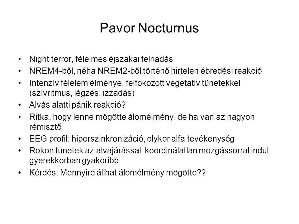 Pavor Nocturnus Night terror, félelmes éjszakai felriadás NREM4-ből, néha NREM2-ből történő hirtelen ébredési reakció Intenzív félelem élménye, felfokozott vegetatív tünetekkel (szívritmus, légzés, izzadás) Alvás alatti pánik reakció.