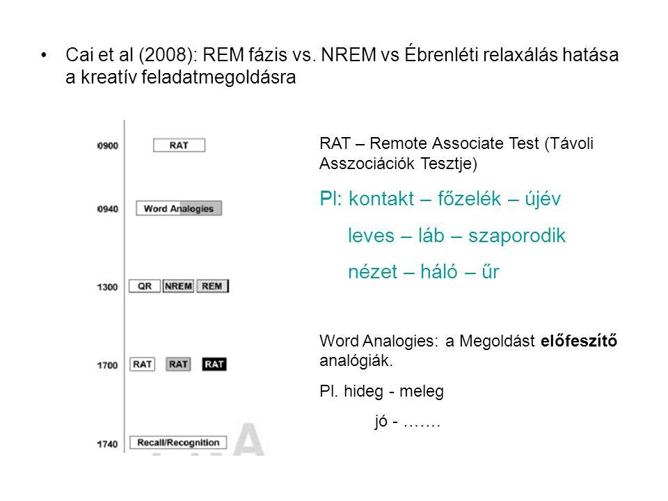 Cai et al (2008): REM fázis vs. NREM vs Ébrenléti relaxálás hatása a kreatív feladatmegoldásra RAT – Remote Associate Test (Távoli Asszociációk Tesztj