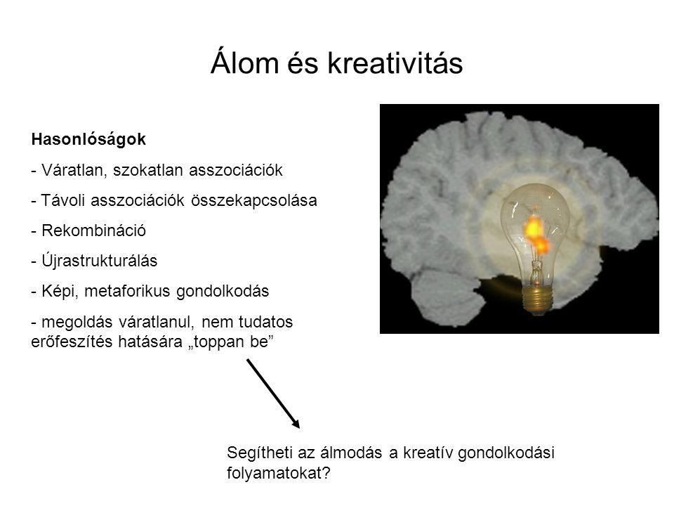 Álom és kreativitás Hasonlóságok - Váratlan, szokatlan asszociációk - Távoli asszociációk összekapcsolása - Rekombináció - Újrastrukturálás - Képi, me