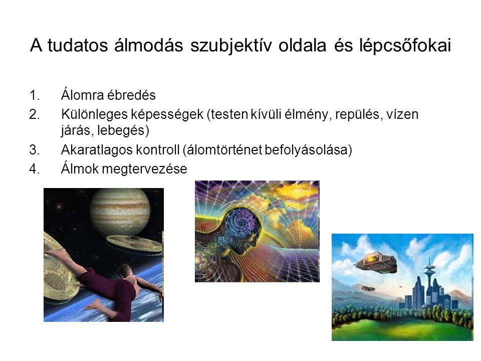 A tudatos álmodás szubjektív oldala és lépcsőfokai 1.Álomra ébredés 2.Különleges képességek (testen kívüli élmény, repülés, vízen járás, lebegés) 3.Ak