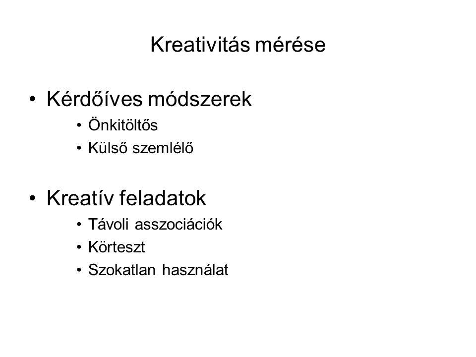 Kreativitás mérése Kérdőíves módszerek Önkitöltős Külső szemlélő Kreatív feladatok Távoli asszociációk Körteszt Szokatlan használat
