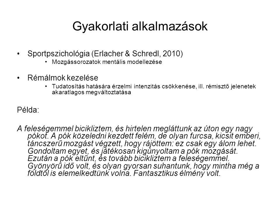 Gyakorlati alkalmazások Sportpszichológia (Erlacher & Schredl, 2010) Mozgássorozatok mentális modellezése Rémálmok kezelése Tudatosítás hatására érzel