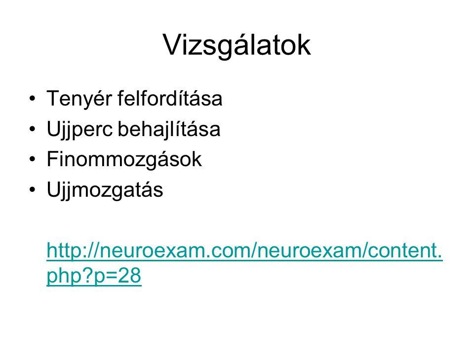 Vizsgálatok Tenyér felfordítása Ujjperc behajlítása Finommozgások Ujjmozgatás http://neuroexam.com/neuroexam/content.