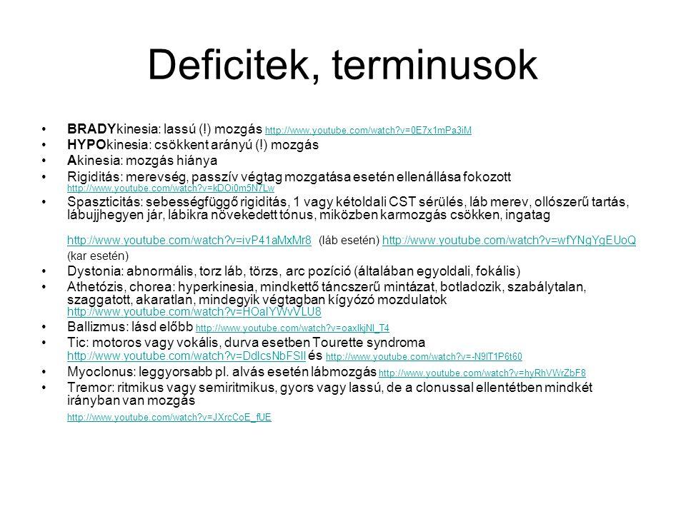 Deficitek, terminusok BRADYkinesia: lassú (!) mozgás http://www.youtube.com/watch?v=0E7x1mPa3iM http://www.youtube.com/watch?v=0E7x1mPa3iM HYPOkinesia: csökkent arányú (!) mozgás Akinesia: mozgás hiánya Rigiditás: merevség, passzív végtag mozgatása esetén ellenállása fokozott http://www.youtube.com/watch?v=kDOi0m5N7Lw http://www.youtube.com/watch?v=kDOi0m5N7Lw Spaszticitás: sebességfüggő rigiditás, 1 vagy kétoldali CST sérülés, láb merev, ollószerű tartás, lábujjhegyen jár, lábikra növekedett tónus, miközben karmozgás csökken, ingatag http://www.youtube.com/watch?v=ivP41aMxMr8 (láb esetén) http://www.youtube.com/watch?v=wfYNgYgEUoQ (kar esetén) http://www.youtube.com/watch?v=ivP41aMxMr8http://www.youtube.com/watch?v=wfYNgYgEUoQ Dystonia: abnormális, torz láb, törzs, arc pozíció (általában egyoldali, fokális) Athetózis, chorea: hyperkinesia, mindkettő táncszerű mintázat, botladozik, szabálytalan, szaggatott, akaratlan, mindegyik végtagban kígyózó mozdulatok http://www.youtube.com/watch?v=HOalYWvVLU8 http://www.youtube.com/watch?v=HOalYWvVLU8 Ballizmus: lásd előbb http://www.youtube.com/watch?v=oaxIkjNI_T4 http://www.youtube.com/watch?v=oaxIkjNI_T4 Tic: motoros vagy vokális, durva esetben Tourette syndroma http://www.youtube.com/watch?v=DdlcsNbFSII és http://www.youtube.com/watch?v=-N9lT1P6t60 http://www.youtube.com/watch?v=DdlcsNbFSII http://www.youtube.com/watch?v=-N9lT1P6t60 Myoclonus: leggyorsabb pl.