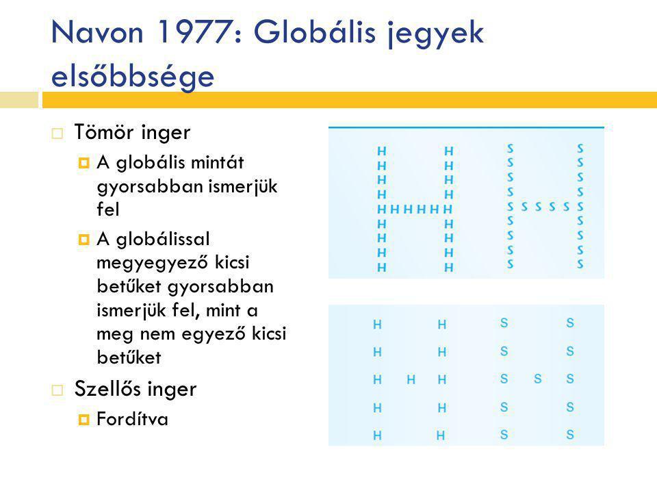 Navon 1977: Globális jegyek elsőbbsége  Tömör inger  A globális mintát gyorsabban ismerjük fel  A globálissal megyegyező kicsi betűket gyorsabban i