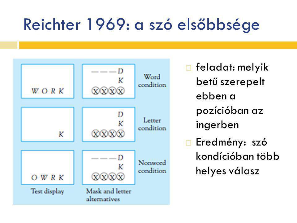 Reichter 1969: a szó elsőbbsége  feladat: melyik betű szerepelt ebben a pozícióban az ingerben  Eredmény: szó kondícióban több helyes válasz