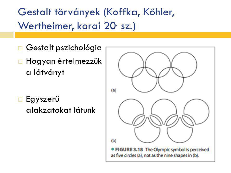 Gestalt törványek (Koffka, Köhler, Wertheimer, korai 20. sz.)  Gestalt pszichológia  Hogyan értelmezzük a látványt  Egyszerű alakzatokat látunk
