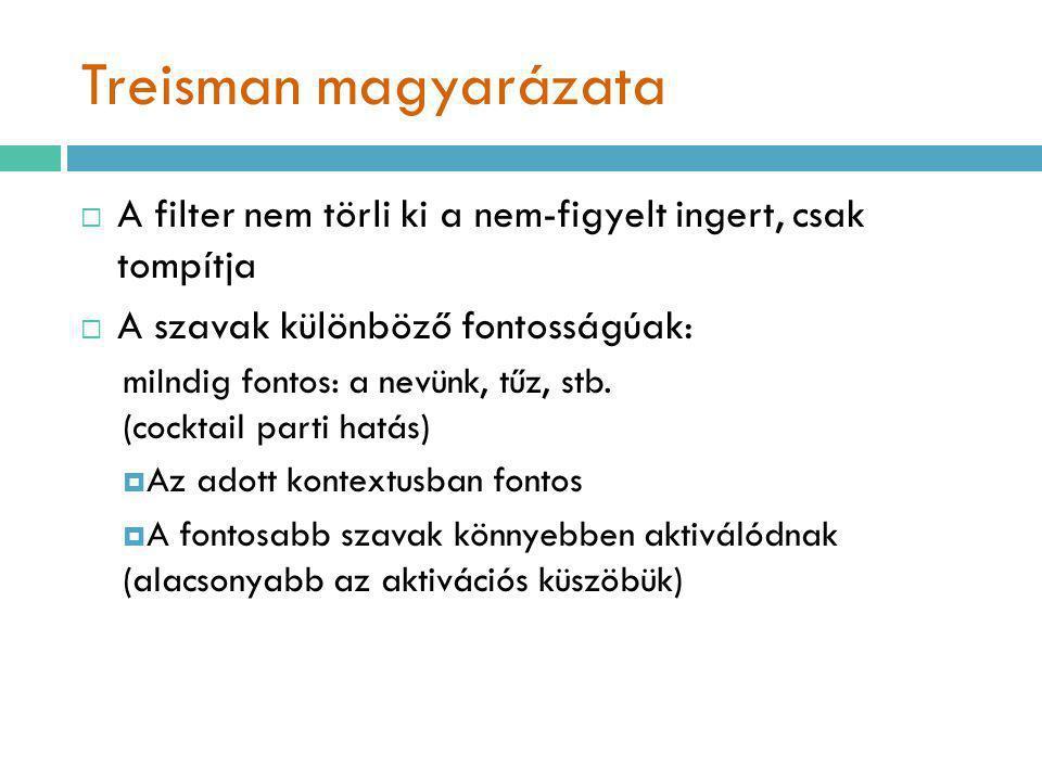 Treisman magyarázata  A filter nem törli ki a nem-figyelt ingert, csak tompítja  A szavak különböző fontosságúak: miIndig fontos: a nevünk, tűz, stb.