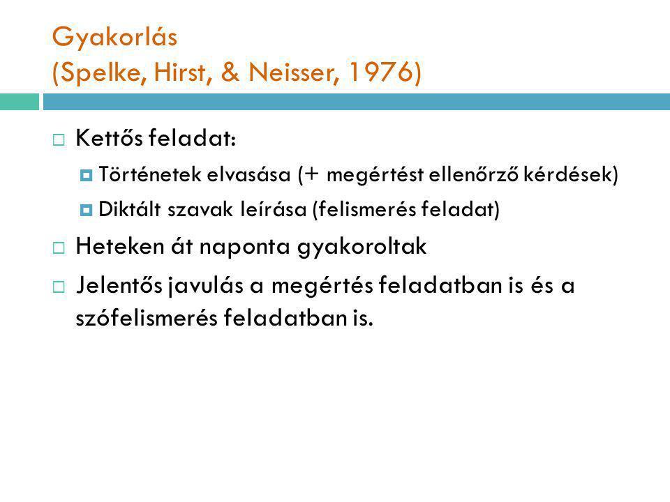 Gyakorlás (Spelke, Hirst, & Neisser, 1976)  Kettős feladat:  Történetek elvasása (+ megértést ellenőrző kérdések)  Diktált szavak leírása (felismer