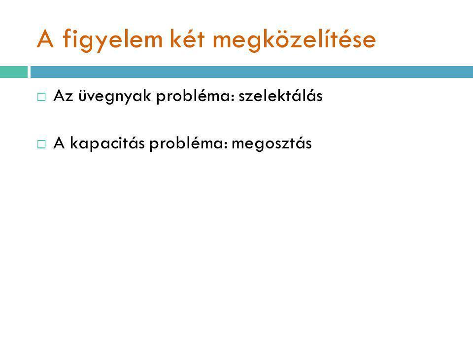 A figyelem két megközelítése  Az üvegnyak probléma: szelektálás  A kapacitás probléma: megosztás