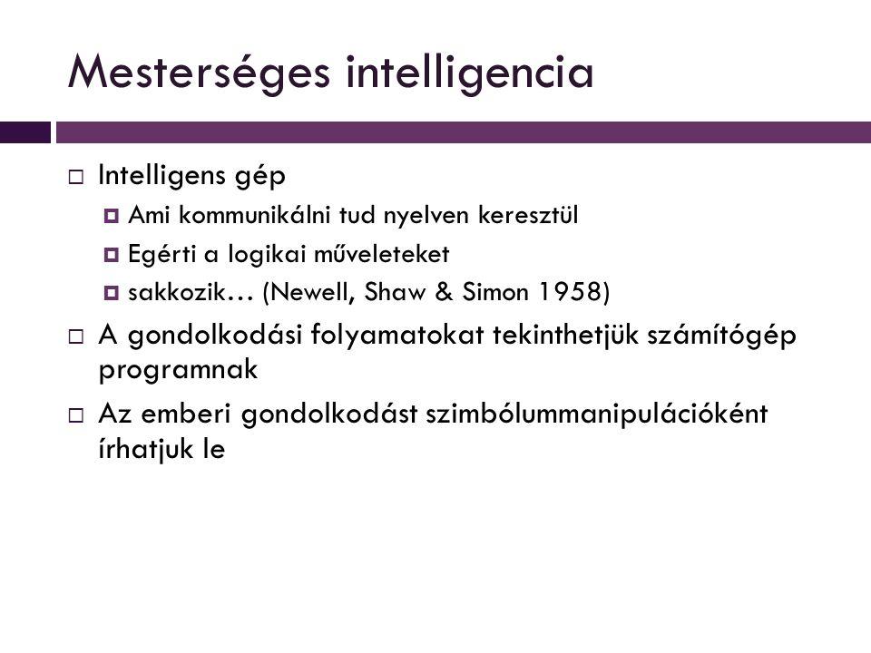 Mesterséges intelligencia  Intelligens gép  Ami kommunikálni tud nyelven keresztül  Egérti a logikai műveleteket  sakkozik… (Newell, Shaw & Simon 1958)  A gondolkodási folyamatokat tekinthetjük számítógép programnak  Az emberi gondolkodást szimbólummanipulációként írhatjuk le