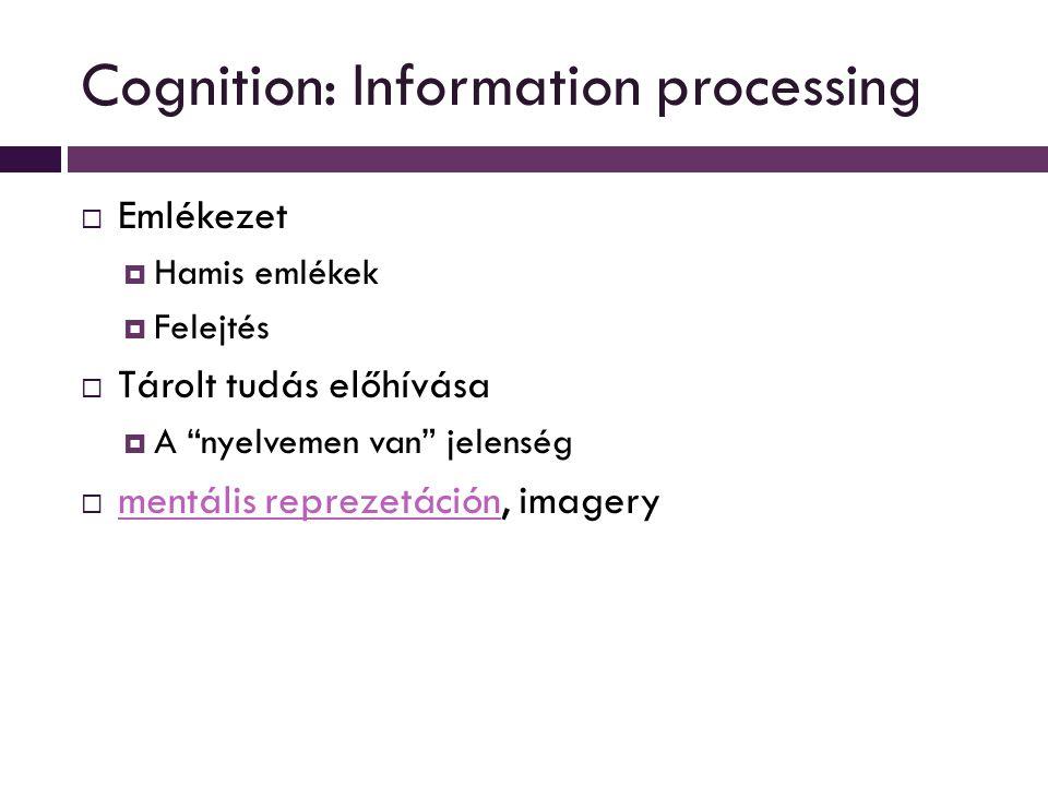 Cognition: Information processing  Emlékezet  Hamis emlékek  Felejtés  Tárolt tudás előhívása  A nyelvemen van jelenség  mentális reprezetáción, imagery mentális reprezetáción