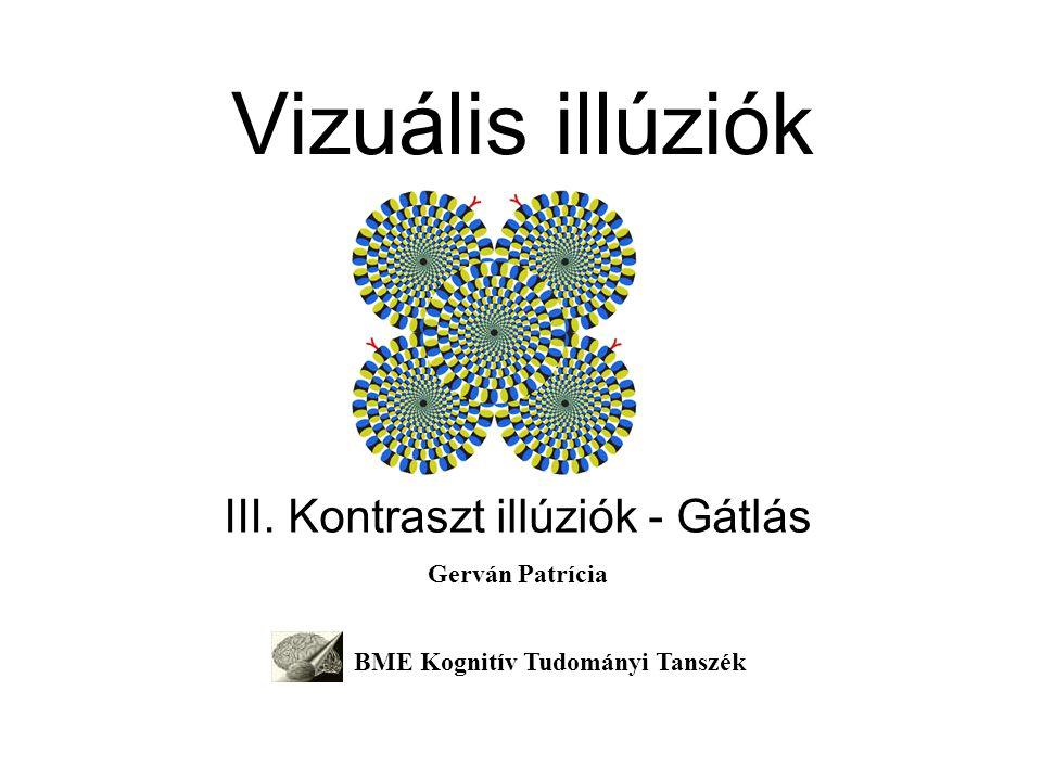 Vizuális illúziók III. Kontraszt illúziók - Gátlás Gerván Patrícia BME Kognitív Tudományi Tanszék