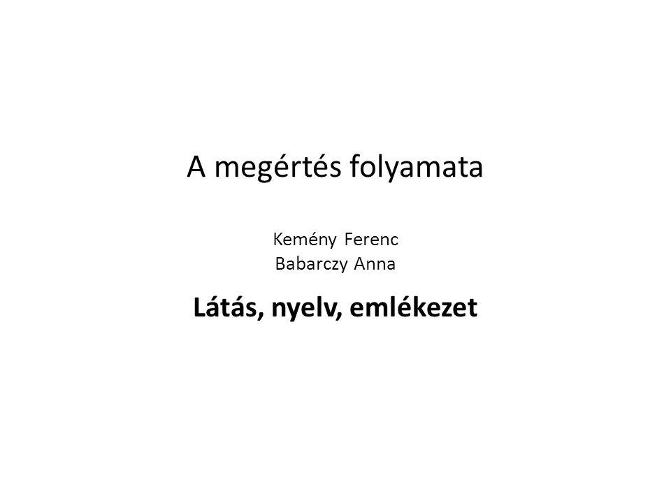A megértés folyamata Kemény Ferenc Babarczy Anna Látás, nyelv, emlékezet