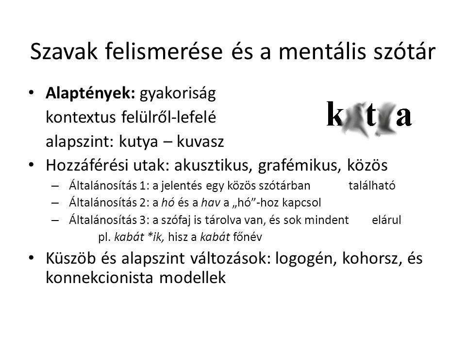 Szavak felismerése és a mentális szótár Alaptények: gyakoriság kontextus felülről-lefelé alapszint: kutya – kuvasz Hozzáférési utak: akusztikus, grafé