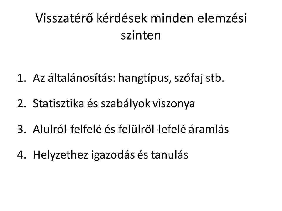 Visszatérő kérdések minden elemzési szinten 1.Az általánosítás: hangtípus, szófaj stb. 2.Statisztika és szabályok viszonya 3.Alulról-felfelé és felülr