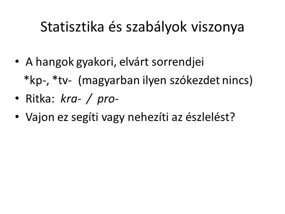 Statisztika és szabályok viszonya A hangok gyakori, elvárt sorrendjei *kp-, *tv- (magyarban ilyen szókezdet nincs) Ritka: kra- / pro- Vajon ez segíti