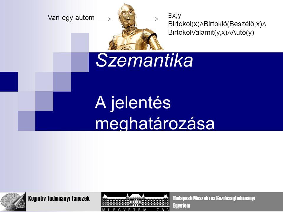 26 Kognitív Tudományi Tanszék Budapesti Műszaki és Gazdaságtudományi Egyetem Szemantika A jelentés meghatározása Van egy autóm ∃ x,y Birtokol(x) ∧ Birtokló(Beszélő,x) ∧ BirtokolValamit(y,x) ∧ Autó(y)