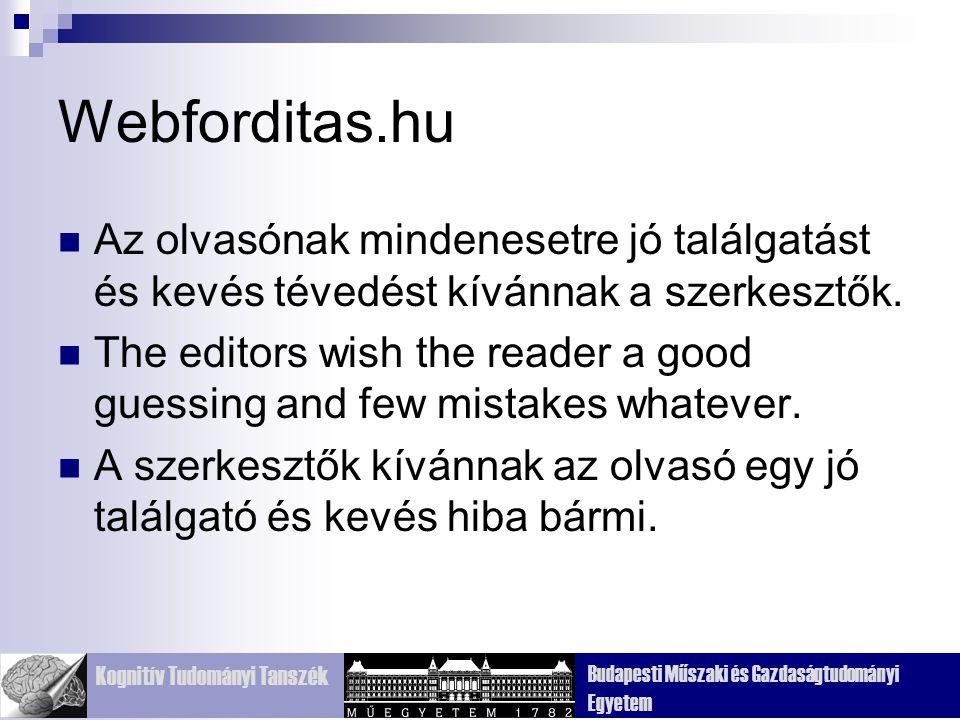 Kognitív Tudományi Tanszék Budapesti Műszaki és Gazdaságtudományi Egyetem Webforditas.hu Az olvasónak mindenesetre jó találgatást és kevés tévedést kí